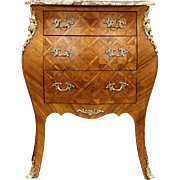 French Bombe Tulipwood Marquetry Vintage Chest or Commode, Marble Top