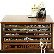 Corticelli Spool Cabinet, Antique 1900 Walnut Collector or Jewelry Chest