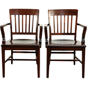 Pair of 1910 Antique Bank, Office or Library Chairs with Arms