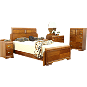 Art Deco Waterfall 5 Pc. Vintage Bedroom Set, Queen Size Bed, Signed Lenoir