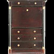 Miniature Antique 1850 European Child Size Secretary Desk or Jewelry Chest