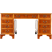 Yew Wood Library or Executive Desk, Tooled Leather, Richwoods of London 1995