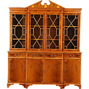 Breakfront Traditional China Cabinet or Bookcase, Yew Wood, Richwoods of London