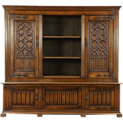 Gothic Hand Carved Oak Antique 1900 Library Bookcase, Holland