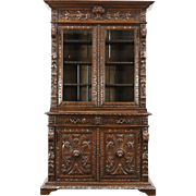 Black Forest Antique Oak Bookcase or China Cabinet, Carved Grapevines & Lions