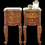 Pair of 1930's Vintage Carved Walnut Nightstands, Marble Tops