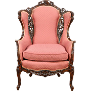 Vintage Wingchair, Carved Music & Figure Motifs, New Upholstery