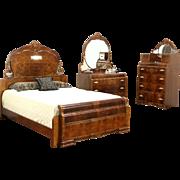 Art Deco Waterfall Design 1935 Vintage 3 Pc. Bedroom Set, Queen Size Bed