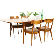 Midcentury Modern 1960's Vintage Dining Set, Table, Leaf, 4 Chairs, Drexel