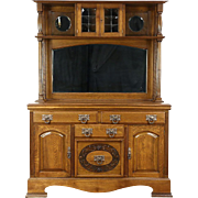 Oak Antique Sideboard, Server, Back Bar or Buffet, Mirror Gallery, England