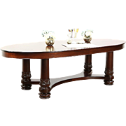 Oval Conference or Dining Table, 1900 Antique Mahogany Carved Base