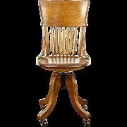 Oak 1900 Antique Swivel Adjustable Desk Chair