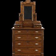 Victorian Eastlake Antique 1880 Spoon Carved Chest or Dresser, Butternut