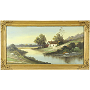 Victorian Antique Farmstead & Pond Scene Original 1900 Oil Painting