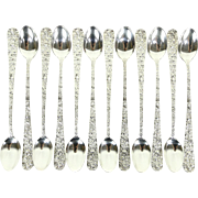 Set of 12 Ice Tea Spoons, Repousse Sterling Silver by Kirk Stieff