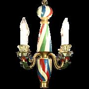 Barber Pole Design Hand Painted Vintage Chandelier, France