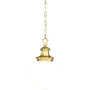 Pendant Antique 1910 Light Fixture, Milk Glass Ball Shade