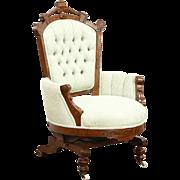 Victorian Eastlake Walnut Antique Stationary Rocker or Platform Rocking Chair