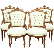 Victorian Eastlake Antique Set of 4 Walnut Game, Breakfast or Parlor Chairs