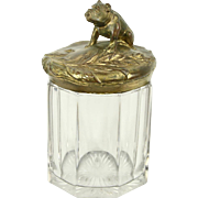 Tobacco or Antique Art Nouveau Cigar Jar, Bulldog Lid