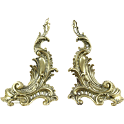 Pair of French Antique 1800's Baroque Brass & Iron Fireplace Andirons