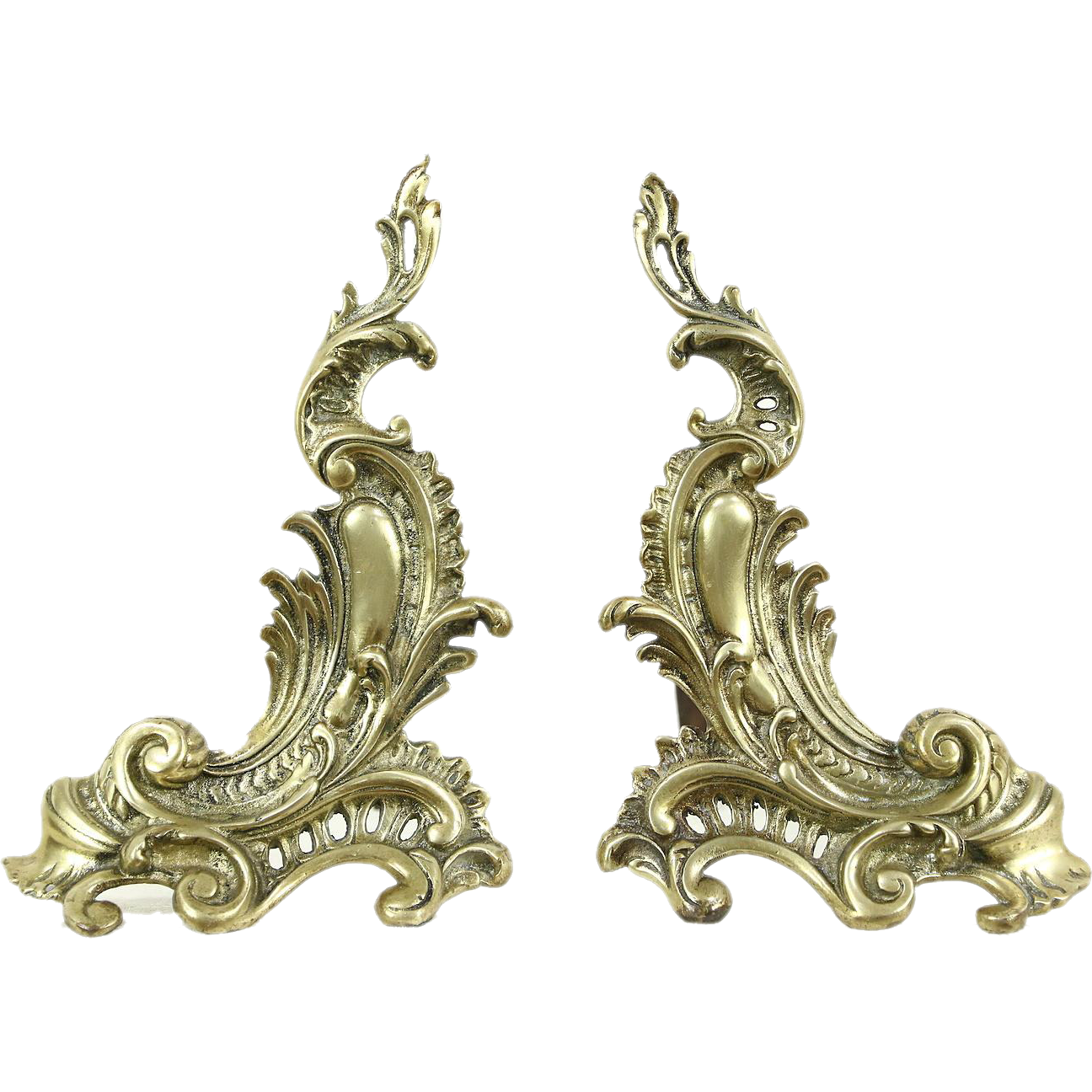 pair of french antique 1800 u0027s baroque brass u0026 iron fireplace