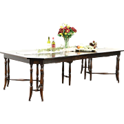 Scandinavian Antique 1900 Dining Table, 9 Leaves, Extends 16'