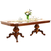 Carved 8' Mahogany Conference, Library, Dining Table, Burl Top, Carved Pedestals