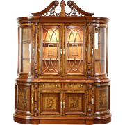 Traditional Breakfront China Display Cabinet, Curved Beveled Glass, Lighted