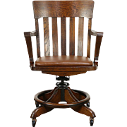 Oak Swivel Adjustable Antique Desk  Chair with Arms, Leather Seat