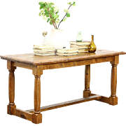 Rustic French Country Pine Trestle Dining, Console or Kitchen Island Table