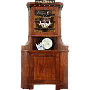Biedermeier Empire Antique Corner Cabinet, Dionysius Wine Grapevine Motif