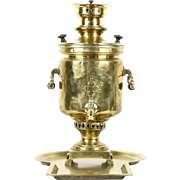Russian Samovar Antique Brass Tea Kettle, Cyrillic Czarist Stamps & Signature