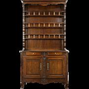 Oak 1840 Antique French Provincial Pewter Cupboard, Sideboard or Welsh Dresser