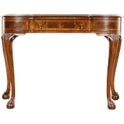 Georgian Style Carved Walnut 1910 Antique Hall Console Table, Marquetry Banding