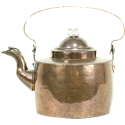 Swedish Copper 1870's Antique Hand Dovetailed Tea Kettle or Pot