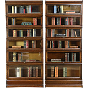 Pair of Oak 1900 Antique 6 Stack Lawyer Bookcases, Signed Globe Wernicke