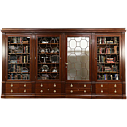 Classical Antique 1900 Mahogany China or Library Bookcase, Secret Door, 13' 10""