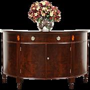 Demilune Half Round 1930's Vintage Console Hall Cabinet, Sunburst Inlaid Top