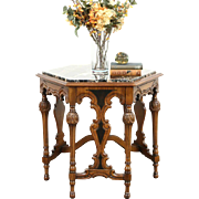 Hexagonal 1920 Antique Walnut Hall Center or Lamp Table, Black Marble Top