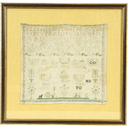 Sampler, 1840's Antique Hand Stitched Linen Needlework, Bird & Dogs