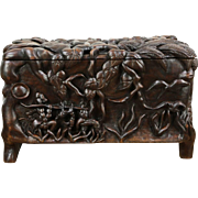 Tahiti Folk Art Traditional Carved Antique Trunk, French Polynesia, Boat & Game
