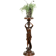 Carved 1920's Antique Classical Male Statue Mounted as Plant Stand or Pedestal