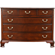 Traditional Georgian Vintage Bow Front Linen Chest or Dresser, Signed Drexel