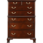 Traditional Georgian Vintage Bow Front Highboy or Tall Chest, Signed Drexel