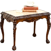 Walnut 1930's Vintage Coffee Table, Marble Top, Carved Faces