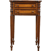 Sheraton 1830's Antique Nightstand, Lamp or End Table, Walnut & Curly Maple