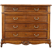 Country French 1890 Antique Carved Chest or Dresser, Marble Top