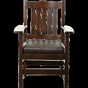 Arts & Crafts Mission Oak 1905 Antique Craftsman Chair, Original Leather