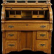 Victorian Eastlake 1885 Antique Oak Roll Top Secretary Desk, Leather Top